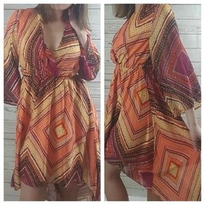 Orange Red Multi-color Print High Low Dress S-M